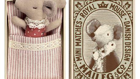 Maileg Myška v krabičce Baby Sleepy - Wakey, červená barva, textil