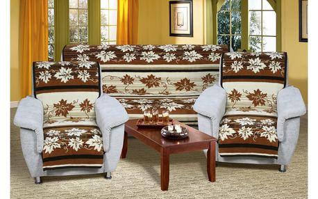 Bellatex Přehozy na sedací soupravu Karmela Plus Hnědé listy, 150 x 200 cm, 2 ks 65 x 150 cm