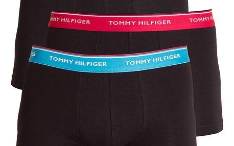 3PACK pánské boxerky Tommy Hilfiger trunk černé s barevnou gumou