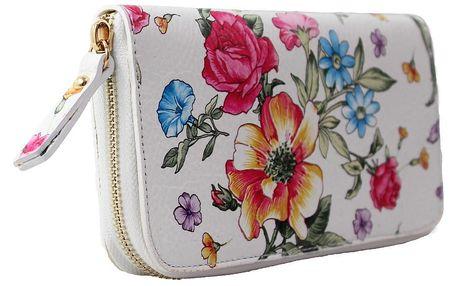 Kožená peněženka s květinami Chicca Borse Flowerina