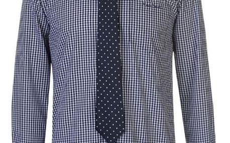 Značková pánská košile s kravatou Pierre Cardin kostička modrá
