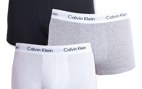 3PACK pánské boxerky Calvin Klein šedá černá bílá