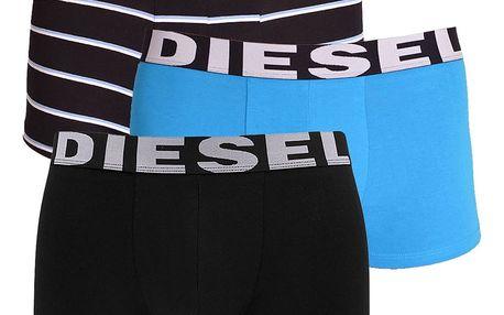 3PACK pánské boxerky Diesel modré s pruhy