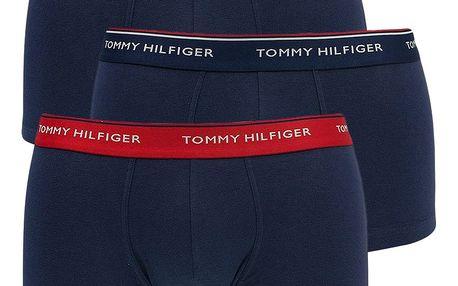 3PACK pánské boxerky Tommy Hilfiger low rise trunk tmavě modré s basic gumou