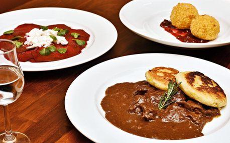 3chodové degustační menu s jelení kýtou pro 2