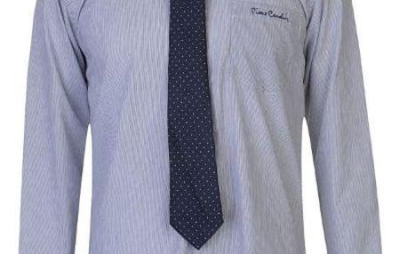 Značková pánská košile s kravatou Pierre Cardin proužek modrá