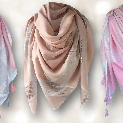 Dámský lehký šátek s aplikací stříbra