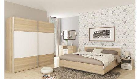 Ložnicový komplet (skříň + postel 160x200x, 2 x noční stolek), dub sonoma / bílá, GABRIELA