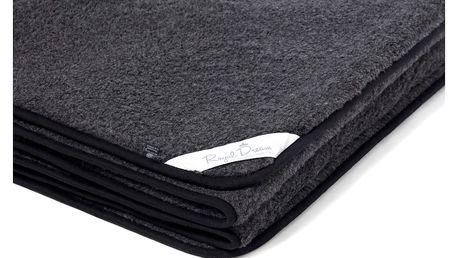 Černá deka z merino vlny Royal Dream, 220x200cm
