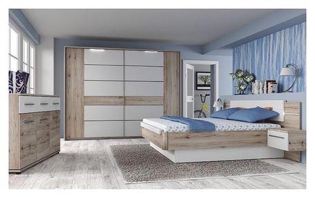 Ložnicový komplet (skříň + postel + 2x noční stolek), dub bergamo / bílý lesk, CANBERA