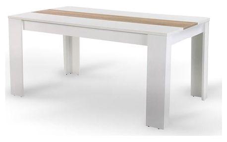 Jídelní stůl RADIM, 140x80 cm, bílá/dub sonoma