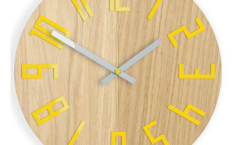 Nástěnné hodiny Woody žluté