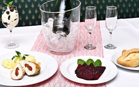Degustační 3chodové menu pro 2 s lahví sektu