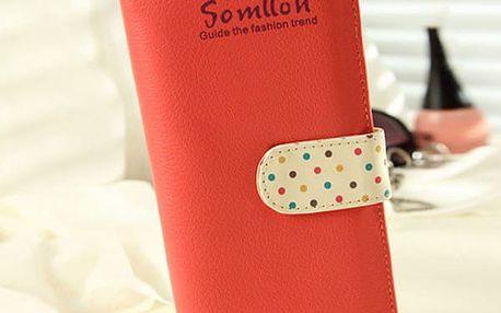 Dámská peněženka s puntíky a korálky - 5 barev