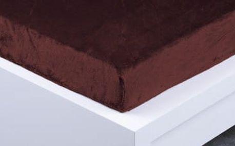 XPOSE ® Prostěradlo mikroflanel Exclusive dvoulůžko - tmavě hnědá 180x200 cm