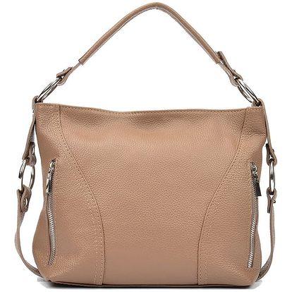 Béžová kožená kabelka Carla Ferreri Rose