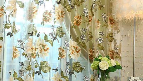 Záclona s květinami - žlutá barva - dodání do 2 dnů