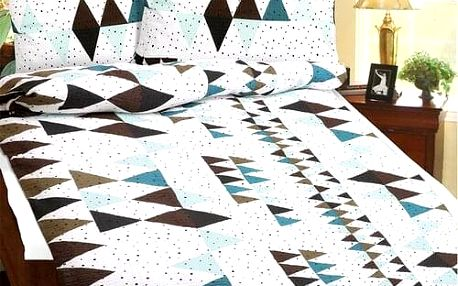 Bellatex Povlečení krep Tyrkysová geometrie , 140 x 200 cm, 70 x 90 cm
