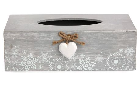 Altom Box na kapesníky Love Winter šedá, 25,5 x 8,5 cm