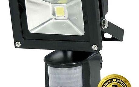 Solight LED venkovní reflektor, 10W, 700lm, AC 230V, černá, se senzorem