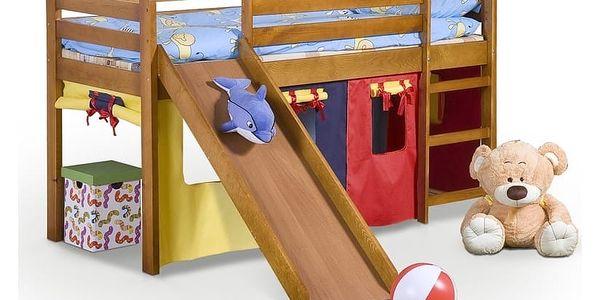 Postel NEO PLUS se skluzavkou + matrace + rošt 80 x 190 cm - borovice