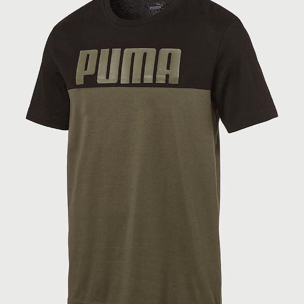 Tričko Puma Rebelblock Tee Olive Night Barevná