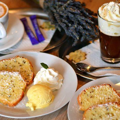 Levandulová bio káva dle výběru a bábovka