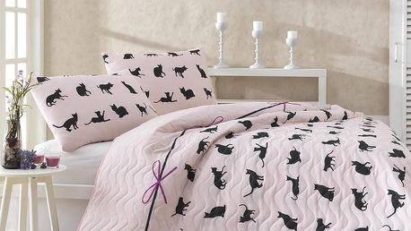 Set přehozu a povlaků na polštáře Cats, 200x220cm