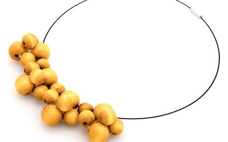 Žlutý dřevěný náhrdelník Ko–ra–le Bubbles