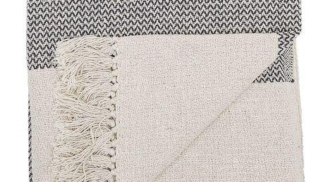 Bloomingville Přehoz Grey 160x130cm, béžová barva, šedá barva, textil