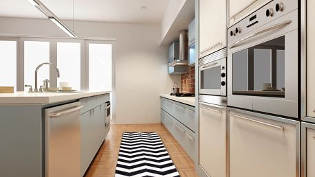 Vysoce odolný kuchyňský koberec Webtappeti Optical Black White,60x150cm