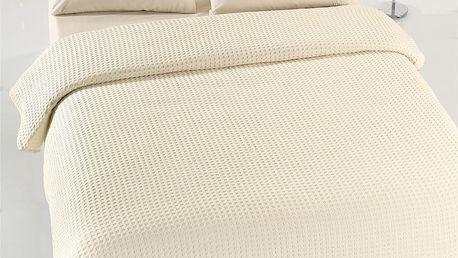 Krémový lehký bavlněný přehoz přes postel na dvoulůžko Caleidoscope,200 x240cm
