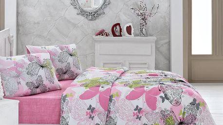 Růžový bavlněný přehoz na dvoulůžko Belinda, 200x230cm