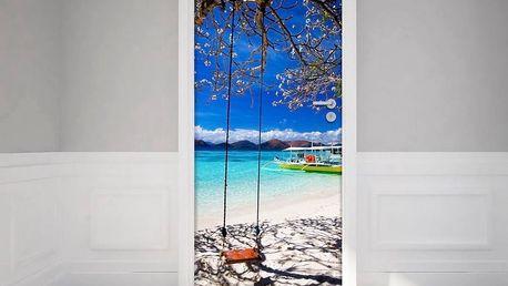 Adhezivní samolepka na dveře Fanastick Tropical beach and swing