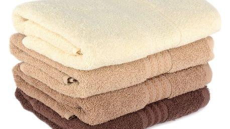 Sada 4 hnědých bavlněných ručníků Rainbow Home, 50x90cm