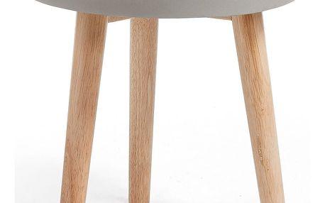 Šedý odkládací stolek s dřevěným podnožím La Forma Livy, Ø 40 cm