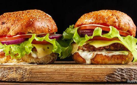 2 burgery výběrem z 5 lákavých druhů+ hranolky