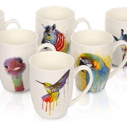 Sada porcelánových hrnků Color Animals, 320 ml, 6 ks