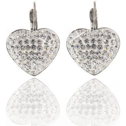 Fashion Icon Náušnice srdce visací velké ocelové s krystaly