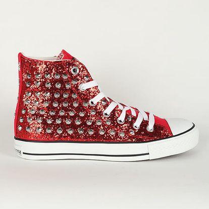 Boty Primadonna Calzatura Sneakers Glitter Ross Červená