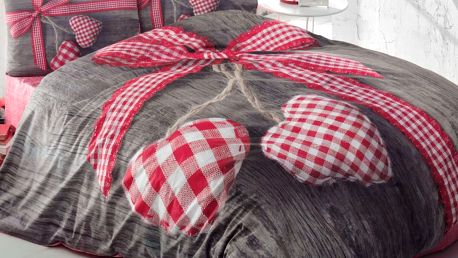 Červené bavlněné povlečení s prostěradlem na dvoulůžko Lovebox Red,200x220cm