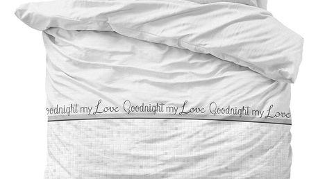 Bílé povlečení z mikroperkálu na dvoulůžko Sleeptime Goodnight my Love,240x220cm