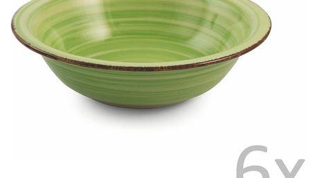 Sada 6 světle zelených polévkových talířů Villa d'Este New Baita, Ø21,5cm