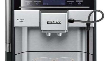 Espresso Siemens EQ.6 TE657313RW nerez + dárky Káva zrnková Jacobs DE L´OR BN FORTISSIMO ESPRESSO 500g + Káva zrnková Simon Lévelt BIO Uganda 250 g v hodnotě 388 Kč + DOPRAVA ZDARMA