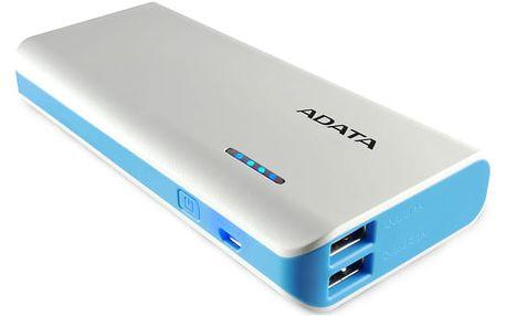 Power Bank ADATA PT100 10000mAh bílá/modrá (APT100-10000M-5V-CWHBL)