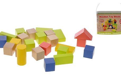 2-PLAY Kostky dřevěné v kbelíku 50 ks , 12m+