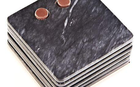 Set 6 mramorových podtácků a měděného stojanu Steel Function