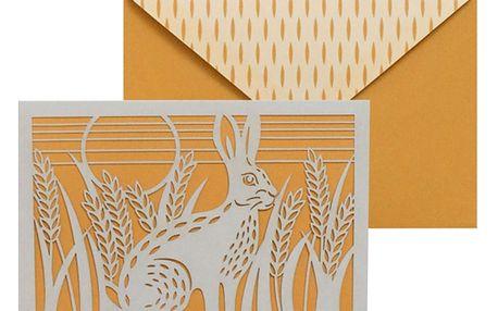 Sada 10 komplimentek s obálkami Portico Designs FOIL Folklore Hare