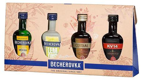 Becherovka 4x0,05l kolekce miniatur - Becherovka, Cordial, KV14, Lemond