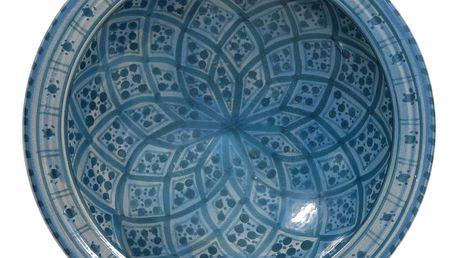 HK living Keramická miska Dark blue pattern, modrá barva, keramika